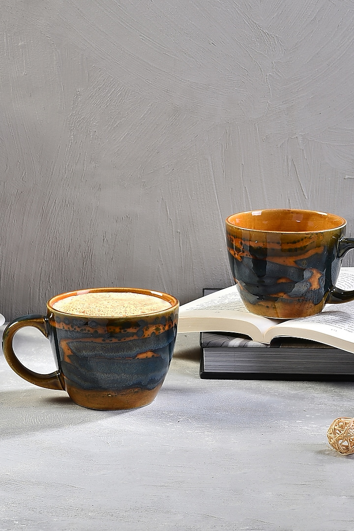 Brown Ceramic Coffee Mugs (Set of 4) by The 7 Dekor