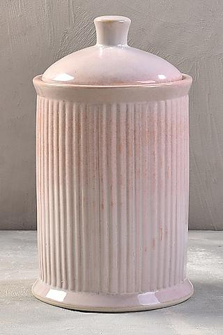 Pastel Pink Ceramic Striped Jar by The 7 Dekor
