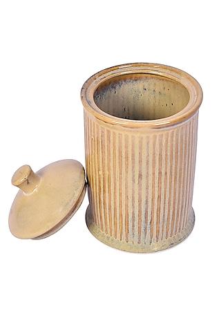 Brown Ceramic Striped Jar by The 7 Dekor