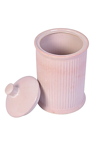 Pastel Pink & Yellow Ceramic Striped Jar (Set of 2) by The 7 Dekor