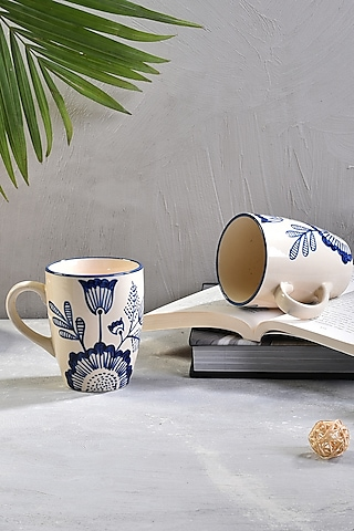 White & Blue Ceramic Coffee Mugs (Set of 6) by The 7 Dekor