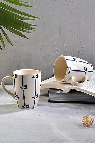 White Ceramic Leafline Coffee Mugs (Set of 6) by The 7 Dekor