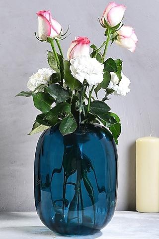 Midnight Blue Glass Sea Wave Vase by The 7 Dekor