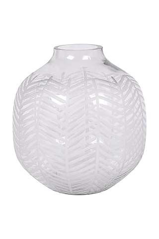 Clear Glass Leaf Cut Vase by The 7 Dekor