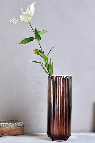 Brown Glass Long Striped Vase by The 7 Dekor
