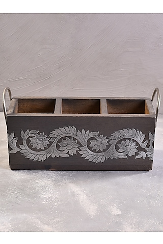 Grey Teak Wood Hand Painted Candy Box by The 7 Dekor
