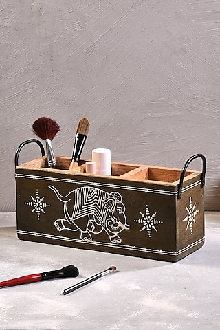Dark Grey Teak Wood Hand Painted Candy Box by The 7 Dekor