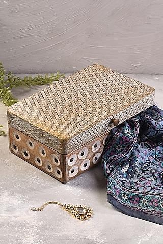 Gold Teak Wood Storage Box by The 7 Dekor