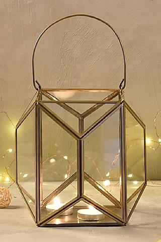 Antique Gold Metal & Glass Lantern by The 7 Dekor