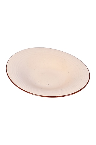 Cream Ceramic Handcrafted Bowl by The 7 Dekor