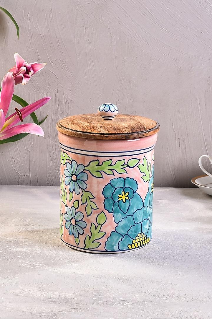 Pastel Pink Hand-Painted Ceramic Jar by The 7 Dekor