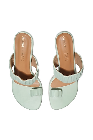 Mint Green Faux Leather Heels by Deme x PAIO