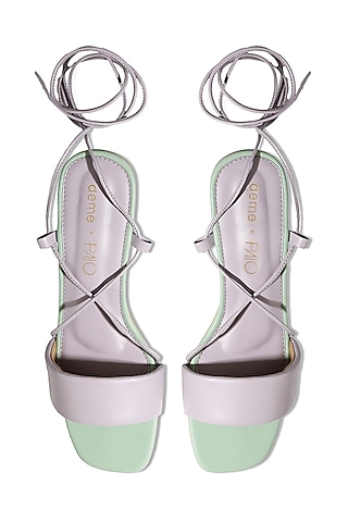 Lilac Faux Leather Heels by Deme x PAIO