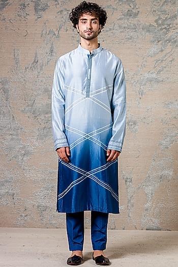 Ombre Blue Embroidered Kurta Set by Devnaagri Men