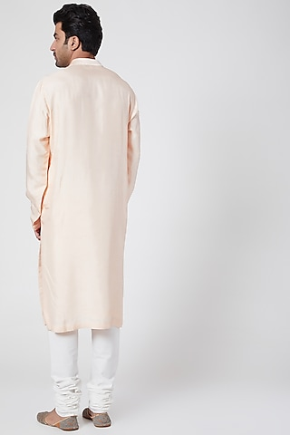 Peach Thread Embroidered Kurta by Dev R Nil Men