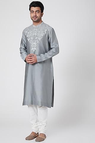 Grey Thread Embroidered Kurta by Dev R Nil Men