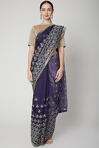 Navy Blue Embroidered Saree Set by Dev R Nil