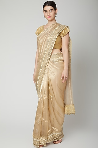 Gold Gota Embroidered Saree Set by Dev R Nil