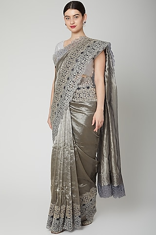 Grey Appliques Embroidered Saree Set by Dev R Nil