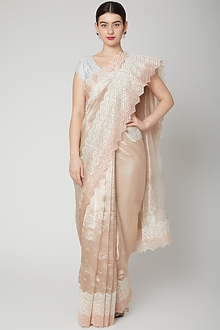 Blush Pink & Silver Embroidered Saree Set by Dev R Nil