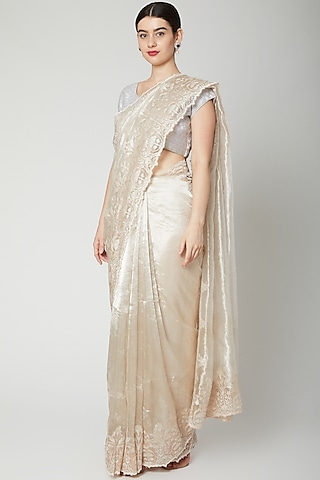 Silver Cutwork Embroidered Saree Set by Dev R Nil