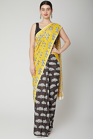 Yellow & Grey Taxi Printed Saree Set by Dev R Nil