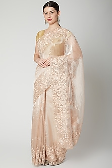 Peach Sequins Embroidered Saree Set by Dev R Nil