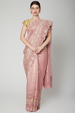 Pink & Gold Beads Embroidered Saree Set by Dev R Nil