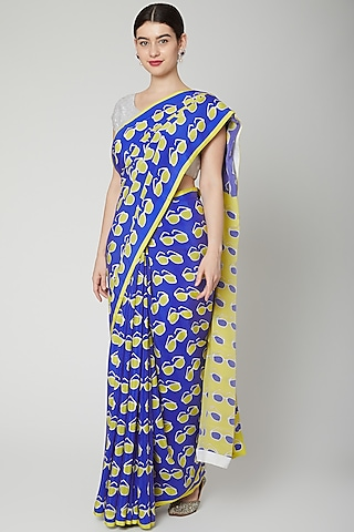 Royal Blue Printed Saree Set by Dev R Nil