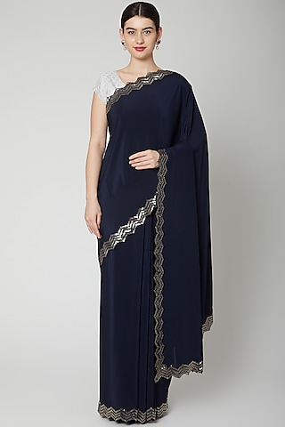 Navy Blue Cutdana Embroidered Saree Set by Dev R Nil