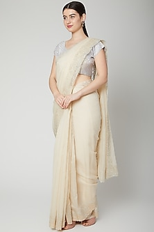 Off White Appliques Embroidered Saree Set by Dev R Nil
