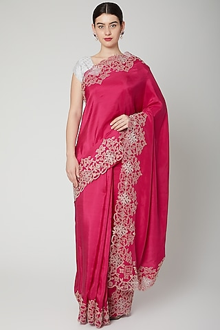 Fuchsia Appliques Embroidered Saree Set by Dev R Nil