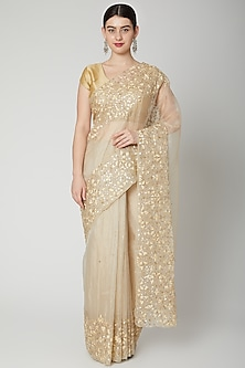 Gold Resham Embroidered Saree Set by Dev R Nil