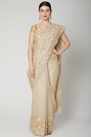 Gold Resham Embroidered Saree Set by Dev R Nil