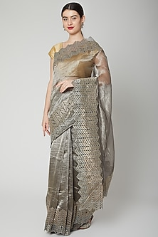 Grey Embroidered Saree Set by Dev R Nil