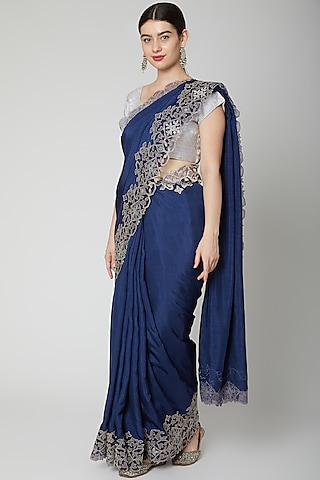 Navy Blue Appliques Embroidered Saree Set by Dev R Nil