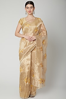 Gold Embroidered Saree Set by Dev R Nil