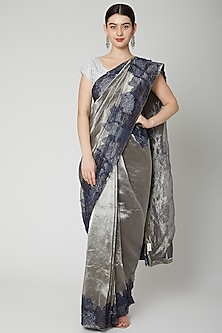 Silver Floral Embroidered Saree Set by Dev R Nil