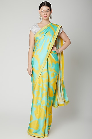 Mint Green & Yellow Printed Saree Set by Dev R Nil
