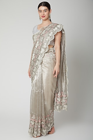 Silver Thread Embroidered Saree Set by Dev R Nil
