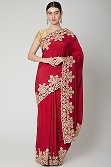 Red Cutdana Embroidered Saree Set by Dev R Nil