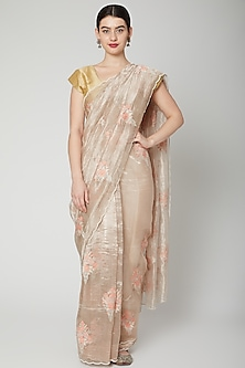 Pale Gold Floral Embroidered Saree Set by Dev R Nil