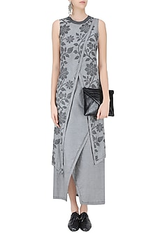 Light Grey Floral Jamdani Criss Cross Two Layered Dress by Debashri Samanta