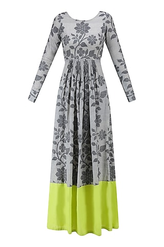 Light Grey and Lime Floral Jamdani Brocade Maxi Dress by Debashri Samanta