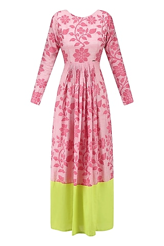 Flesh Red and Lime Floral Jamdani Brocade Maxi Dress by Debashri Samanta