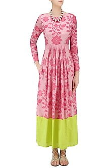 Flesh Red and Lime Floral Jamdani Brocade Maxi Dress by Debashri Samanta