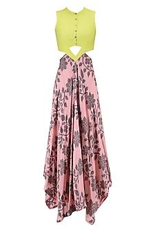 Flesh Red and Lime Asymmetric Hemline V-Waist Cutout Fitted Dress by Debashri Samanta