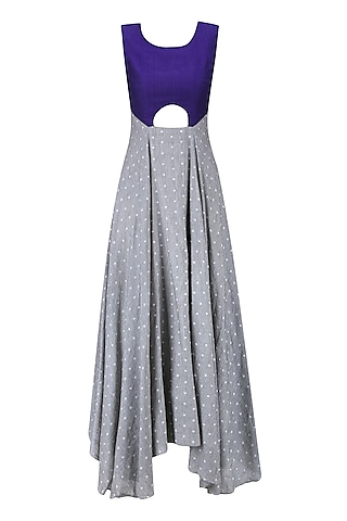Light Grey and Purple Cut Out Flared Asymmetrical Dress by Debashri Samanta