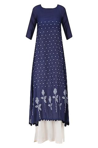 Indigo and Beige Double-Layered Asymmetric Maxi Dress by Debashri Samanta