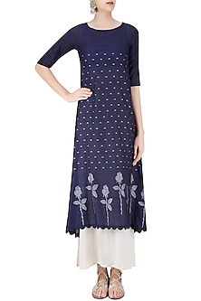 Indigo and Beige Double-Layered Asymmetric Maxi Dress by Debashri Samanta